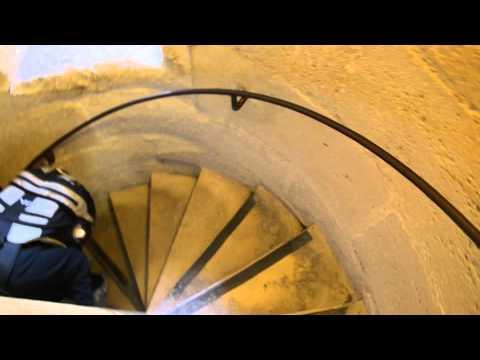 Paris descending Notre Dame stairs
