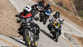 10. Super Naked Bike Shootout - FZ-10 vs. Tuono 1100 RR vs. Speed Triple R vs. 1190 SX - 4K