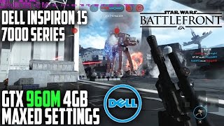 """Wow... Just wow... I am amazed at this Gaming Laptops performance. The GTX 960M 4Gb on the Dell Inspiron 15 7000 Series (i7559-763BLK) handles Star Wars Battlefront on maxed ULTRA settings at 1080p on various maps. While you have to turn off AA and occlusion as well as drop settings to medium to maintain 60FPS, I am still amazed at how well this GPU is able to play this beautiful looking game. ***I used the Waves MaxxAudio processing for the audio and fed it back into the recording stream, you can hear a bit of distortion but I have to say it definitely changes the way the game sounds. Though some of you will like it and others won't just wanted to give you guys an idea of sound quality on the software side... Now for hardware... the sound system is lacking.►Purchase:http://amzn.to/1PwmHpv (US)http://amzn.to/223mcbq (UK)http://amzn.to/1pgxjAa (CA)Review, Unboxing, Gameplays - https://goo.gl/D7xBTm★ 100 likes for the Fated Army? Join @ ► http://goo.gl/Vk1aMNBe sure to take note of the FPS and the temps at the top left of the screen. This will give you an Idea of how well it will perform if you purchased this PC.Specs: (i7559-763BLK)Intel i5-6300HQ 2.3 GHz Quad-Core (Turbo 3.2 GHz)NVIDIA GeForce GTX 960M 4GB GDDR58 GB DDR3 RAM256 GB Solid-State Drive15.6-Inch FHD IPS Anti Glare Screen (Non-Touch)Gaming Rig: http://amzn.to/1RQwSXXMy Editing Rig: http://amzn.to/1S2qGsxAudio Setup: http://amzn.to/1Vj92q6If you are in the market for a new laptop, be sure to check out the Lenovo IdeaPad Y700 which also has a GTX 960M - https://goo.gl/GuHVZj- - - - - - - - - - - - - - - - - - - - - - - - - - - - - - - - - - - - - -*Connect*Twitter: https://twitter.com/FatedCbGoogle+: http://goo.gl/ZbML3rFacebook: https://www.facebook.com/FatedCbSteam Group: http://steamcommunity.com/groups/FatedArmyGoogle+ Community: http://goo.gl/yEumfo★★★★★★★★★★★★★★★★★★★★★★★★★★★★★★★★►Support the channel by clicking """"Subscribe"""", """"Like"""" and """"Share""""AND►Click before adding an item to your cart: ► http://amzn."""