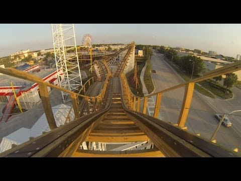 roller coasters - Theme Park Review was fortunate enough to be invited down to capture some of the early test runs of Fun Spot Orlando's GCI Wooden Roller Coaster