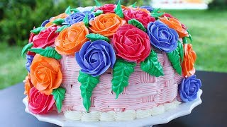 This Basket of roses cake is so amazingly beautiful, It is a vanilla cake, with woven basket and filled up with buttercream roses. Learn how to make this amazing basket of roses cake to steal the show at any gathering - easy step by step how to make basket of roses cake . Buttercream recipe  https://youtu.be/oYBWdRxrPN4Buttercream roses recipe  https://youtu.be/4_5m3ubpA2YIngredients 2 cake mix half cup butter cream for frosting 1 cup butter cream for basket weave buttercream roses ( how to make buttercream roses video link above)1/4 cup butter cream to pipe the leaves Tools used 2B staholz basket weave piping tipWilton 366 leaf piping tip wilton 32 piping tip Subscribe !!!!!!!!!!!