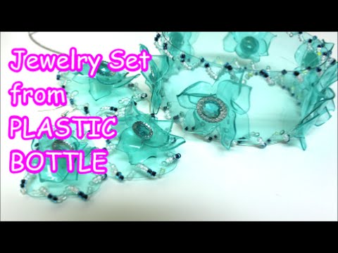 Download DIY Crafts: Jewelry Set Bracelets Earrings Pendant from Plastic Bottle Recycled Bottles Crafts HD Video