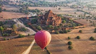 Bagan Myanmar  city photo : Balloon Flight Over Bagan, Myanmar in 4K (Ultra HD)