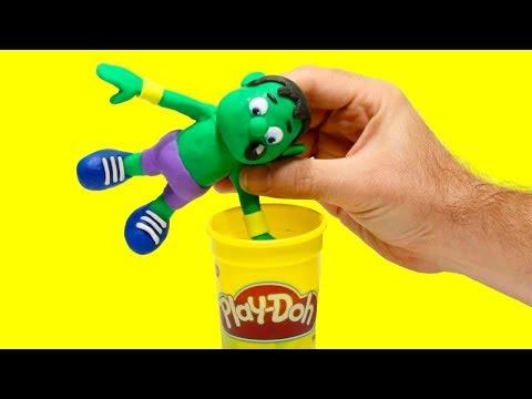 Baby hulk Dress up 💕 stop motion play doh superhero cartoons
