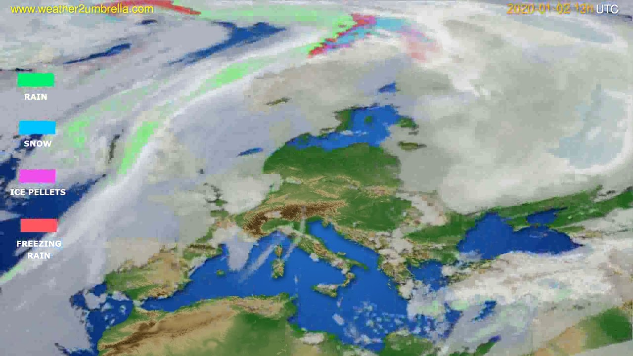Precipitation forecast Europe // modelrun: 12h UTC 2020-01-01