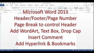 Microsoft Word 2013 pt 6 (Header/Footer, Page Break, Bookmark, Comment...)