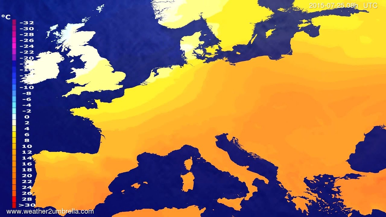 Temperature forecast Europe 2015-07-22
