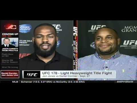 sportscenter - August 4, 2014 UFC light heavyweight champ Jon Jones and challenger Daniel Cormier speak to Todd Grisham LIVE on Sportscenter about their wild UFC 178 media ...