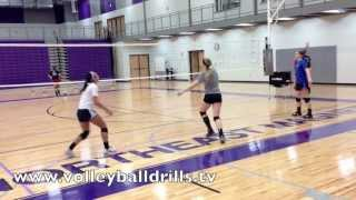 Try this conditioning drill. The coach tosses to a volleyball player, she passes the ball to the setter and runs under the net, she will be the passer this whole round. The player who sets runs under the net and stays the setter this whole round.The player who hits runs under the net and stays the hitter this whole round.It's cooperative so it requires some ball control and communication. Try to get 10 repetitions without letting the volleyball drop!