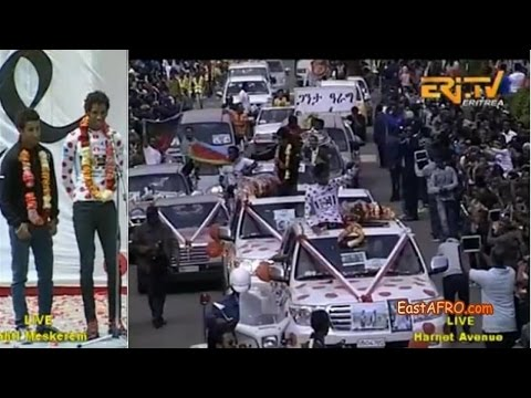 Tour de France 2015 Hero Daniel Teklehaimanot, Merhawi Kudus Asmara Hero's Welcome on KEFET.COM