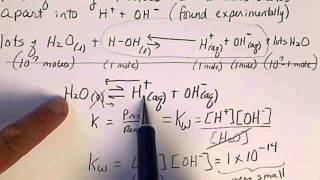The equilibrium reaction for the dissociation of water (auto-ionization of water). Equilibrium constant, Kw = 10^-14 (very small...