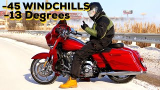 10. HARLEY CVO STREET GLIDE IN -45 WINDCHILLS. What could go wrong?