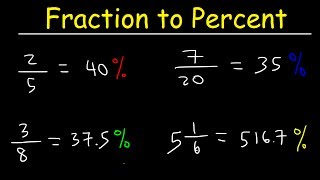 This math video tutorial explains how to convert fractions into percents without a calculator.  This video contains plenty of examples and practice problems.   This video also explains how to convert mixed numbers into percentages.Pre-Algebra Video Playlist:https://www.youtube.com/watch?v=WJqw-cxvKgo&list=PL0o_zxa4K1BVoTlaXWFcFZ7fU3RvmFMMGAlgebra Online Course:https://www.udemy.com/algebracourse7245/learn/v4/overviewAccess to Premium Videos:https://www.patreon.com/MathScienceTutor