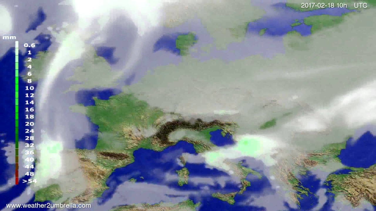 Precipitation forecast Europe 2017-02-16