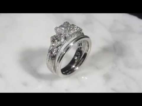 Vintage Hidden Heart Bridal Set