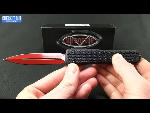 "Microtech Ultratech Bayonet OTF Automatic Knife Tri-Grip Red (3.4"" Satin)"