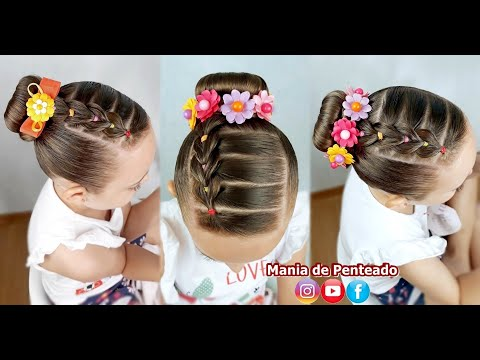 Penteado Infantil Com Trança Falsa E Coque Rosquinha / Bun Hairstyle For Little Girls
