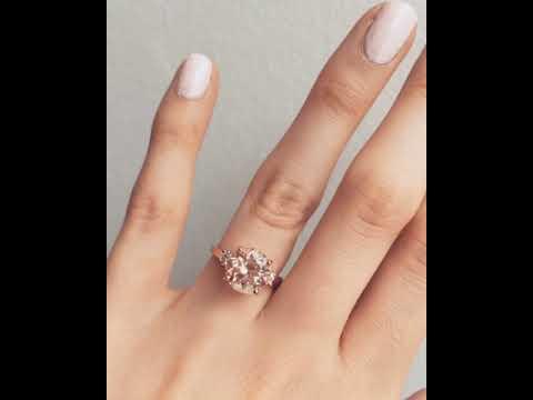 18ct Rose Gold, Morganite & Diamond Engagement Ring