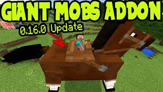 MCPE 0.16.0 UPDATE GIANT MOBS in WORLD - ADDON and BEHAVIOR PACK Showcase Minecraft Pocket Edition