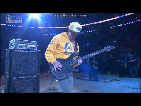 Flea Of The Red Hot Chilis Does National Anthem On Bass For Kobes Last Game With Lakers.