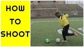 How to shoot a soccer ball like a PRO  Kick with power and ac...