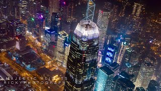 Aerial night view of Hong Kong 香港