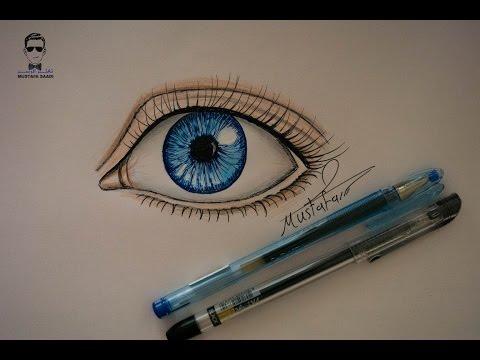 تعلم رسم العين بالقلم الجاف والسوفت