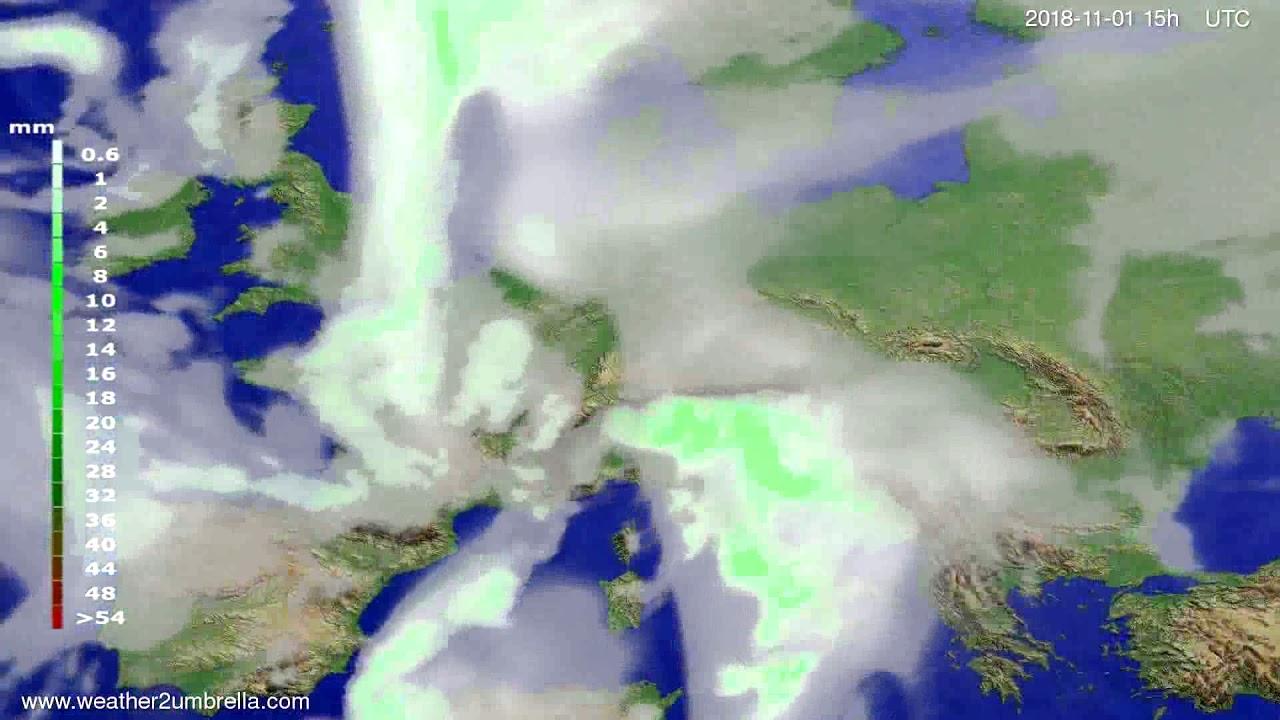 Precipitation forecast Europe 2018-10-30