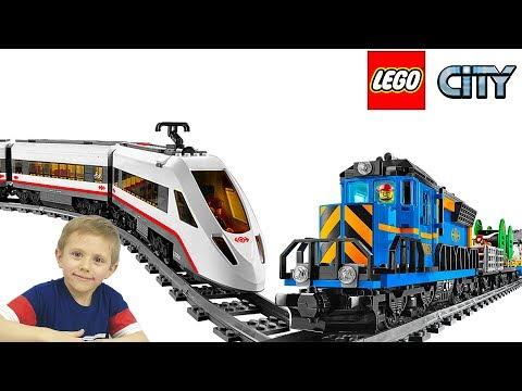 Лего Поезда и Трейсеры Экстремалы - Скоростной Пассажирский поезд Lego City 60051 и Грузовой 60052 (видео)