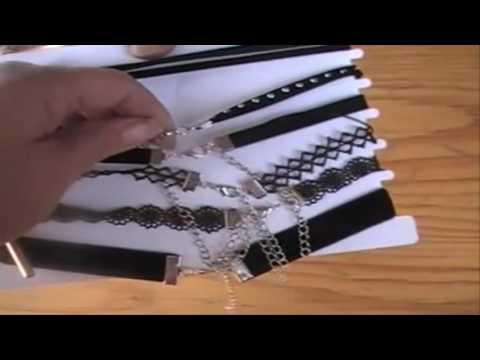 Women Choker Chain Necklace for Girls 6 Pcs Black Velvet Lace
