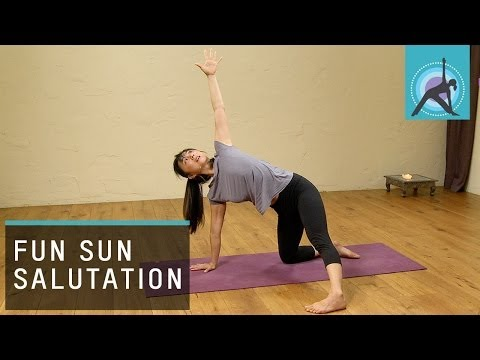 Warming up for Yoga - http://www.EkhartYoga.com Warm up before you start your Yoga practice is very important. Aki Omori shows us a fun Sun Salutation to start your yoga routine. ...