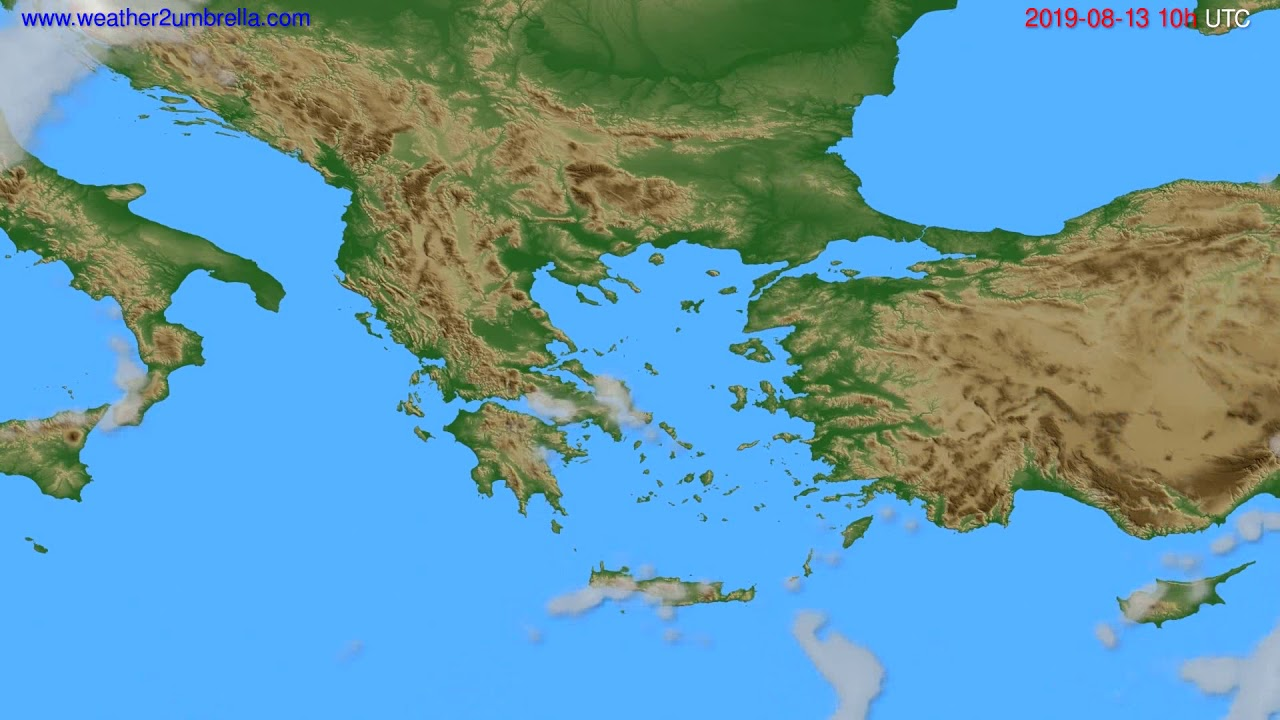 Cloud forecast Greece // modelrun: 12h UTC 2019-08-10