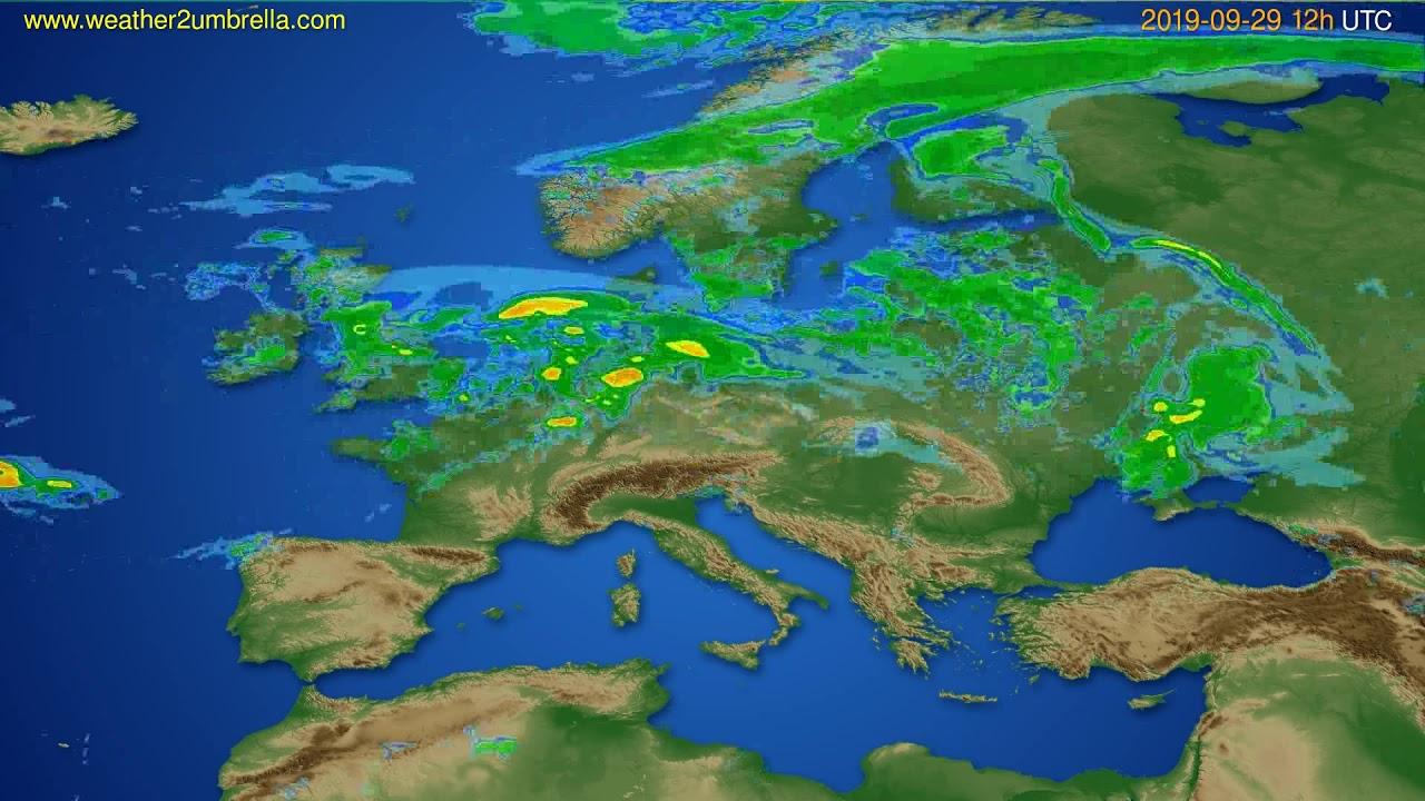 Radar forecast Europe // modelrun: 00h UTC 2019-09-29