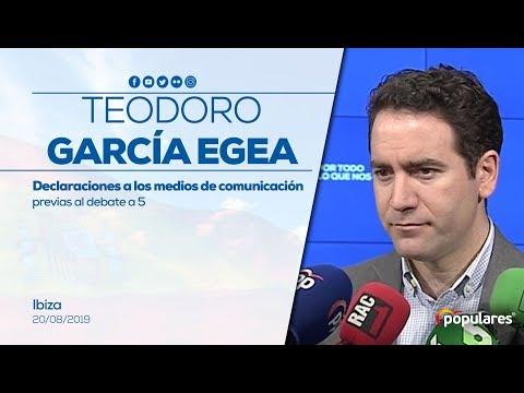 Declaraciones de Teodoro García Egea a los medios de comunicación previas al debate a 5