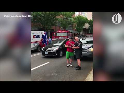 GRAPHIC WARNING: Scene of apparent hit-and-run in downtown Portland (видео)