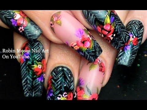 Nail designs - Winter Diva Nails  Flower Nail Art on Faux Herringbone Tweed Nail Design
