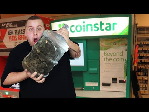 CASHING IN 5 GALLON JUG Of COINS From Storage Unit!  BIG MONEY! Cashing In Coins At CoinStar