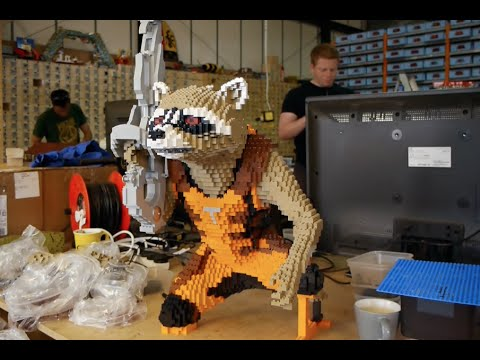 rocket - Building the LEGO Marvel's Guardians Of The Galaxy supersize Rocket & Groot - from San Diego Comic-Con 2014 & Guardians Of The Galaxy European premiere. 300 hours of work from a team of 8...
