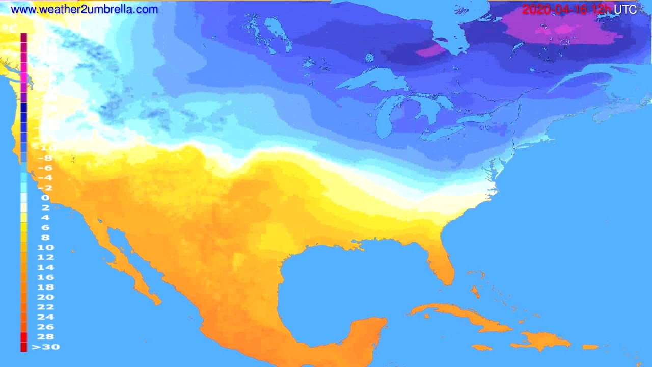 Temperature forecast USA & Canada // modelrun: 00h UTC 2020-04-16