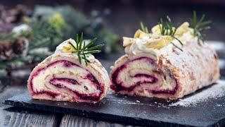 Cranberry White Chocolate Meringue Roll