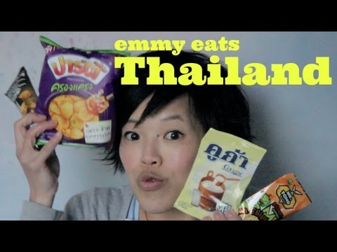 Thailand - Sampling a package of Thai snacks and sweets sent to me from viewer Som on this episode of Emmy Eats Thailand. Subscribe: http://youtube.com/subscription_cen...