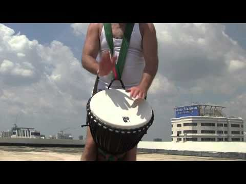 Toca Freestyle Djembe  Drum Test and Demo high on a roof with Michael Pluznick
