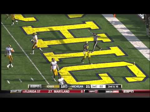 Devin Gardner (QB Michigan) vs Iowa 2012 video.