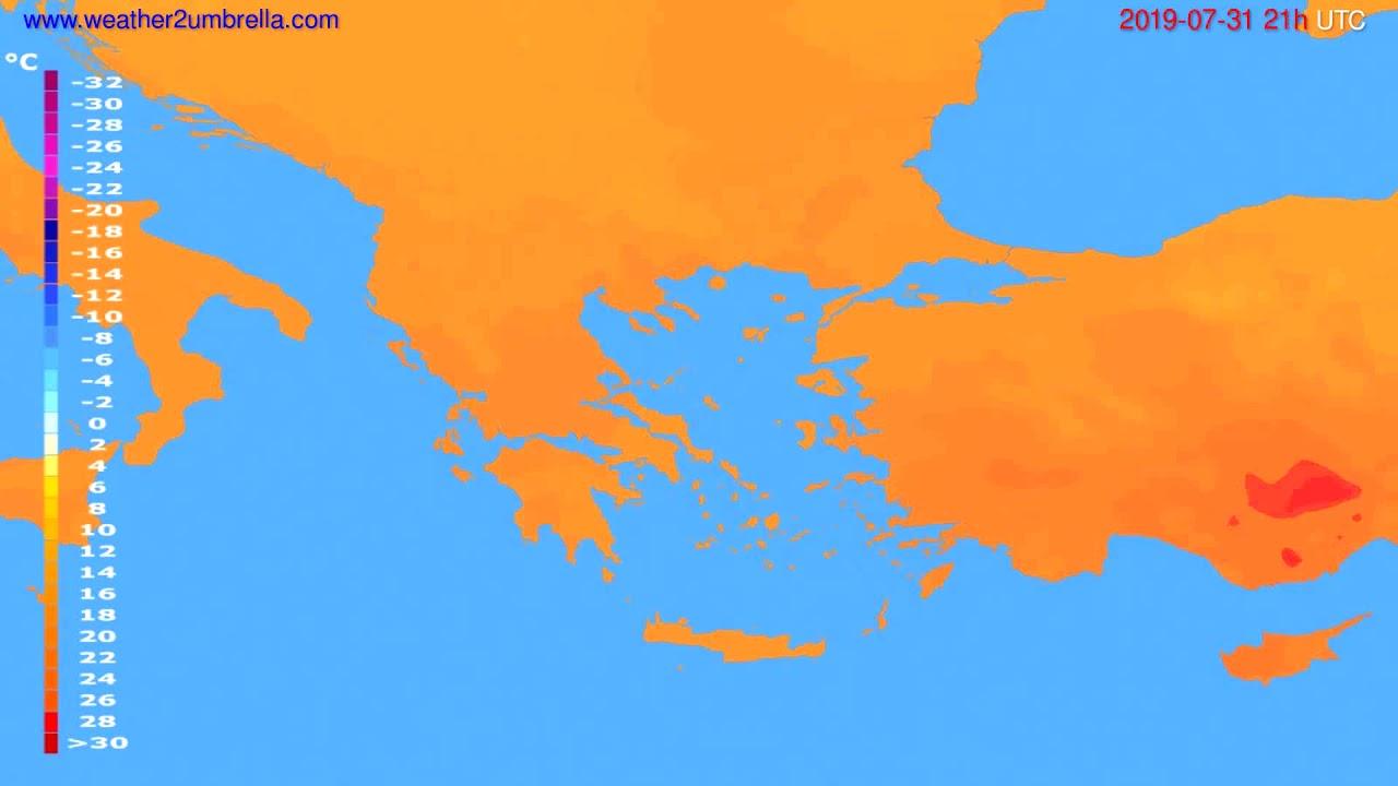 Temperature forecast Greece // modelrun: 00h UTC 2019-07-30