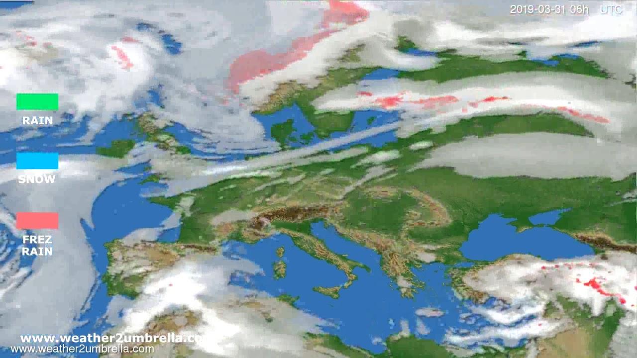 Precipitation forecast Europe 2019-03-30