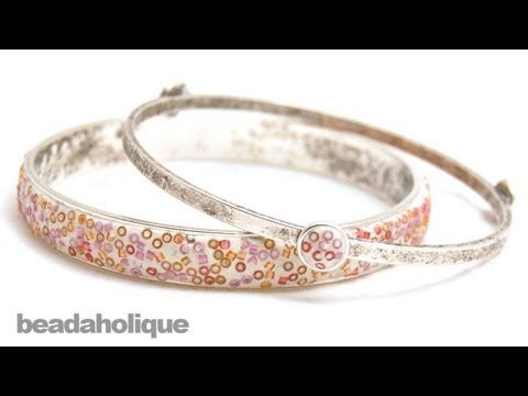 How to Make a Seed Bead and Crystal Clay Bangle Bracelet by Becky Nunn