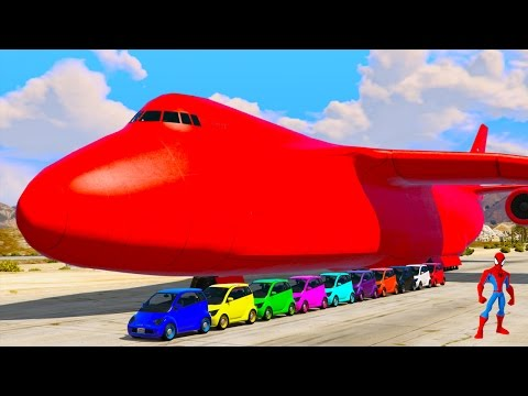 Color Small Cars Transportation on Biggest Airplane w Spiderman - GTA V Mods