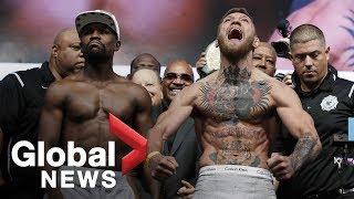 Video Floyd Mayweather vs. Conor McGregor weigh-in before superfight MP3, 3GP, MP4, WEBM, AVI, FLV Juni 2019
