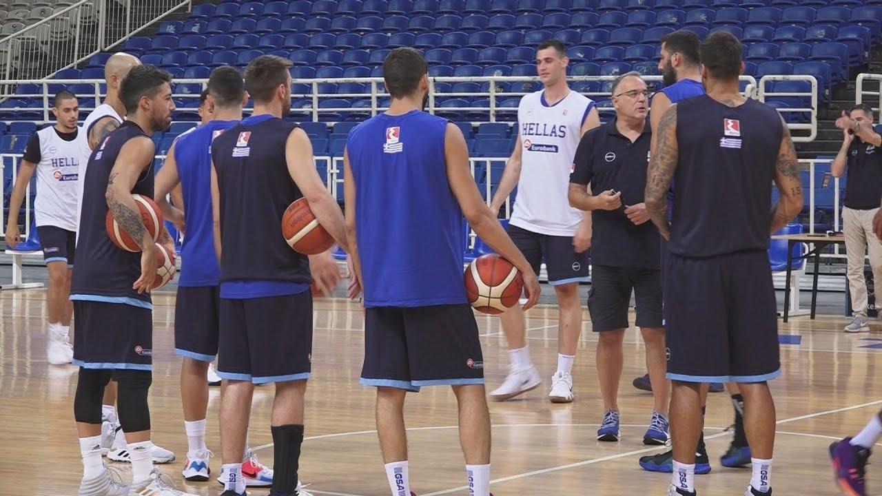 Προπόνηση της εθνικής ομάδας ανδρών μπάσκετ, στο Ολυμπιακό στάδιο