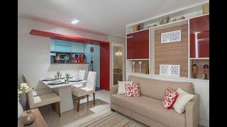 Decoração do apartamento decorado do Solar do Bosque. Apartamentos de 2 quartos com cozinha americana e sala para dois...